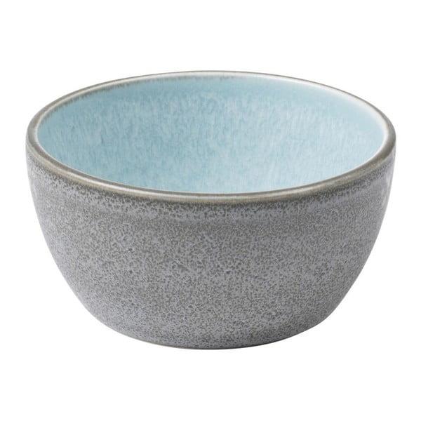 Sivá kameninová miska s vnútornou glazúrou v svetlomodrej farbe Bitz Mensa, priemer 10 cm