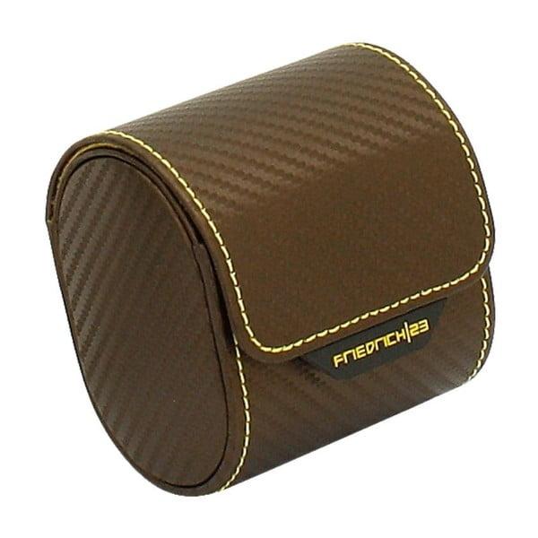 Čokoládově hnědý box na jedny hodinky Friedrich Lederwaren Carbon