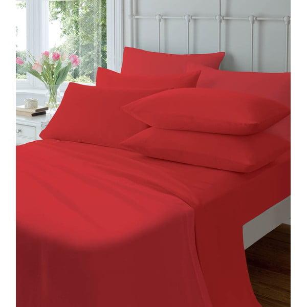 Elastické prostěradlo Plain Flette Red, 90x190 cm