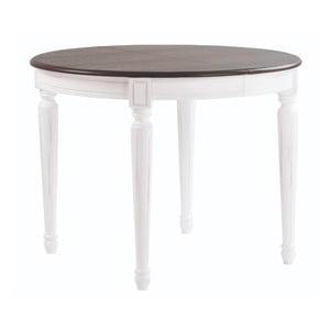 Bílý jídelní stůl s šedou deskou Folke Viktoria, ∅105cm