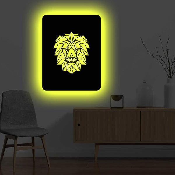 Nástěnná světelná dekorace Lion, 67 x 82 cm