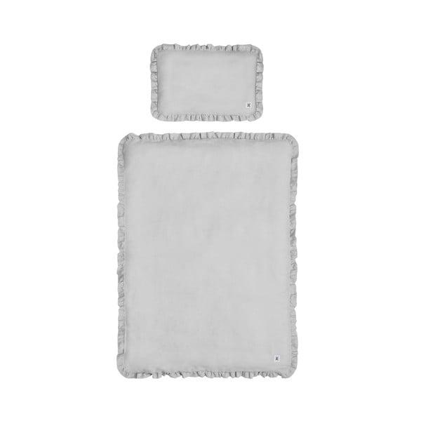 Sivé detské ľanové obliečky BELLAMY Stone Gray, 140×200 cm