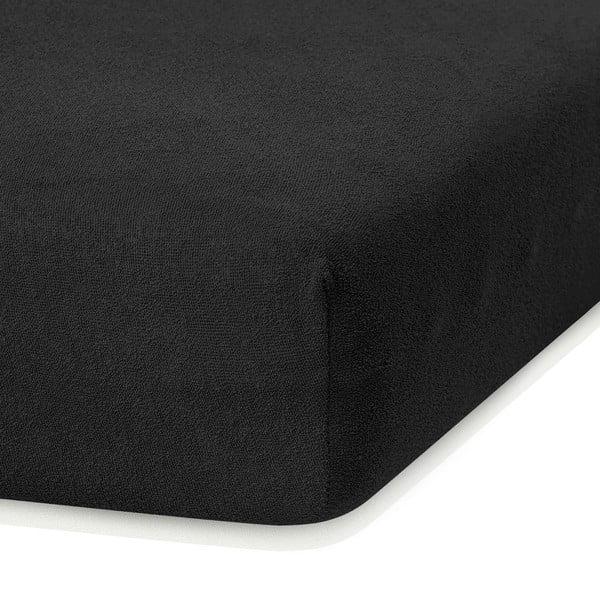 Cearceaf elastic AmeliaHome Ruby, 200 x 80-90 cm, negru