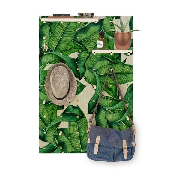 Nástěnka s poličkami z borovicového dřeva Surdic Pegboard Green Leafes