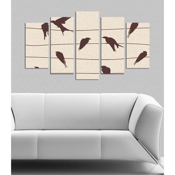 Pětidílný obraz Ptačí hejno, 110x60 cm