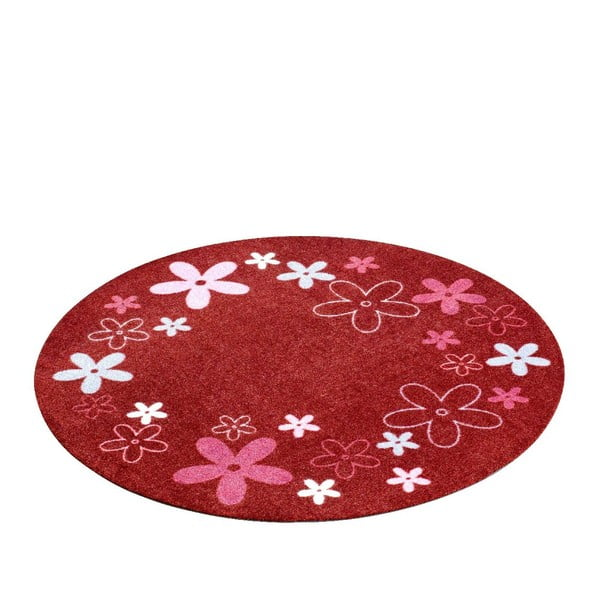 Dětský červený koberec Zala Living Flower, ⌀100cm