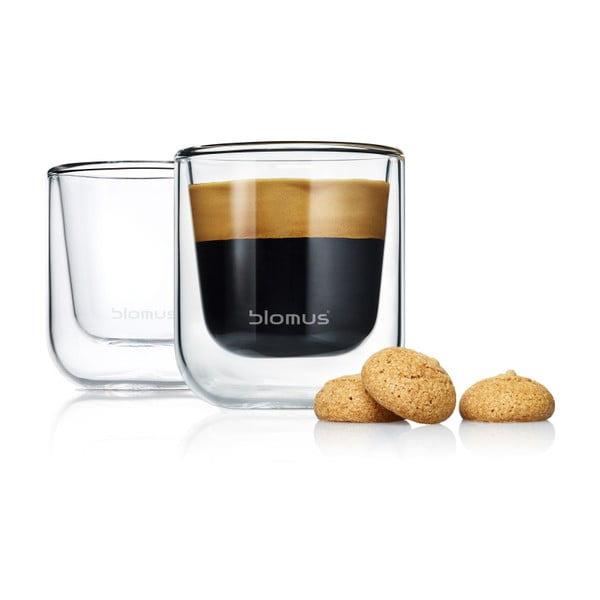 Komplet 2 szklanek do espresso z podwójną ścianką Blomus Nero, 80 ml