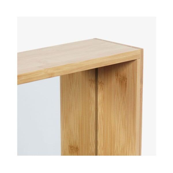 Oglindă de perete cu ramă din lemn de bambus Furniteam Design, 40 x 90 cm