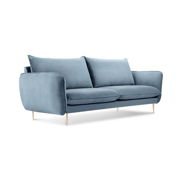 Canapea cu tapițerie din catifea Cosmopolitan Design Florence, albastru pal