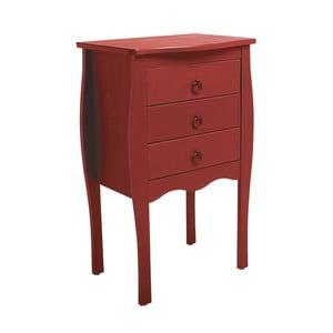 Červený odkládací stolek se 3 zásuvkami z borovicového dřeva SOB Oculus