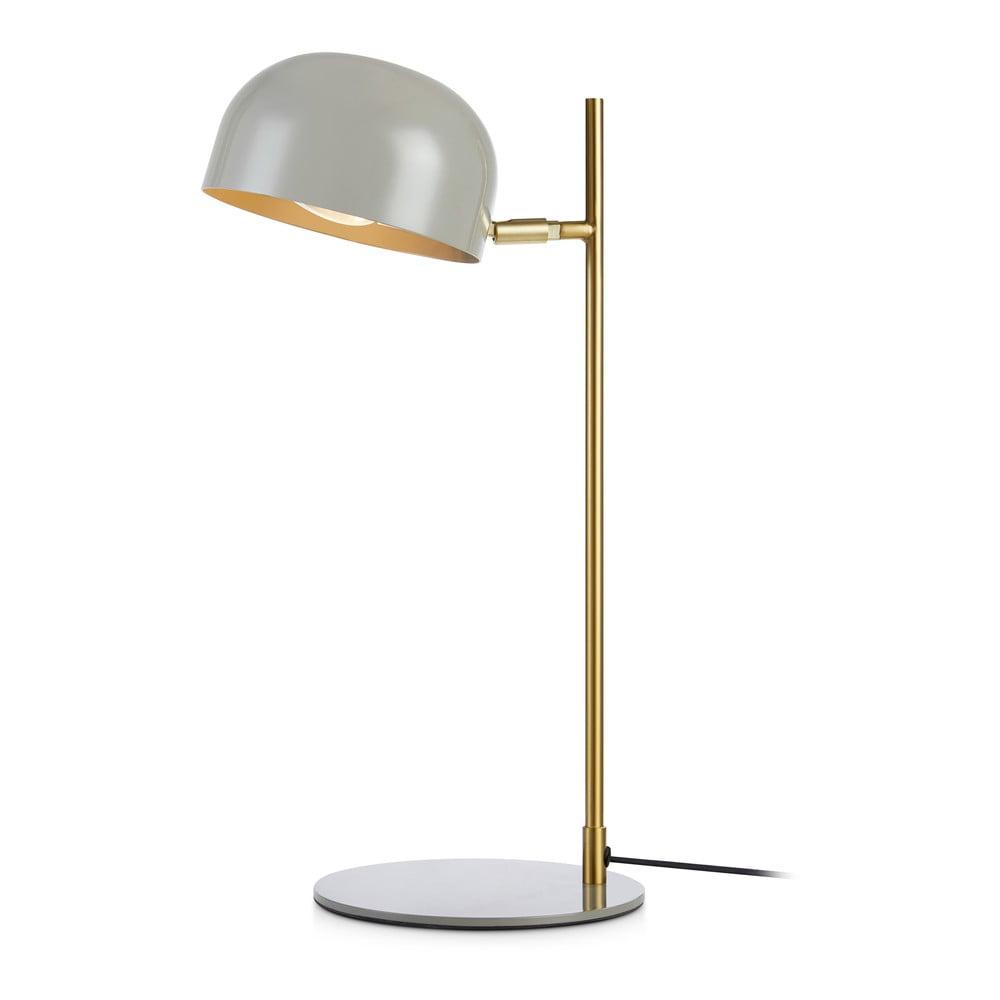 Šedá stolní lampa se stojanem v měděné barvě Markslöjd Pose Table 1L