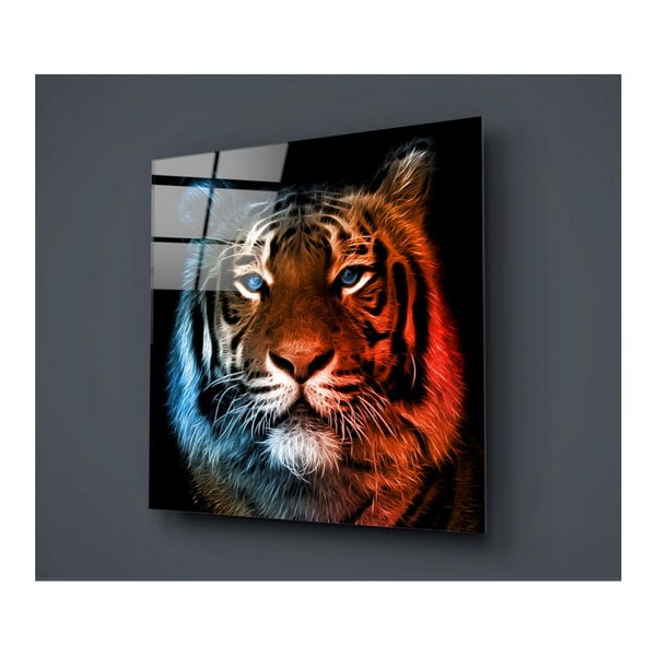 Tablou din sticlă Insigne Lion Colorful, 40 x 40 cm
