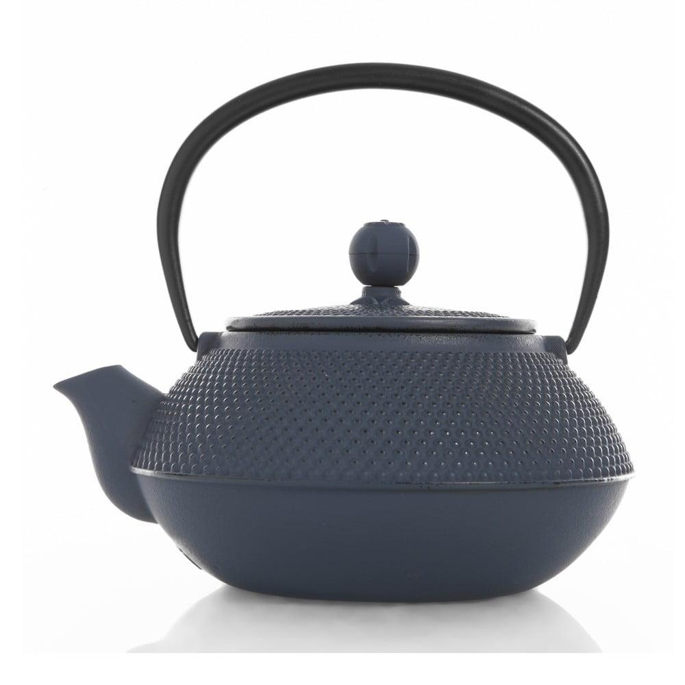 Tmavě modrá konvička na čaj z litiny Tasev, 800 ml
