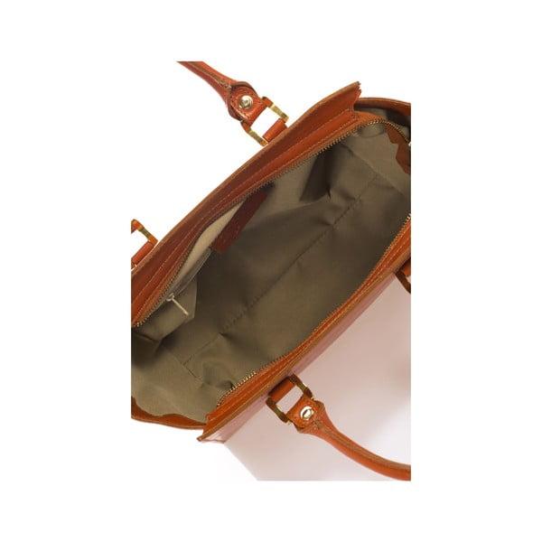 Koňakově hnědá kožená kabelka Italia 382