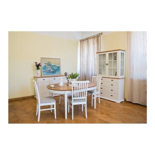 Bílá vitrína s detaily z dubové dýhy a 5 zásuvkami Wermo Family Marika