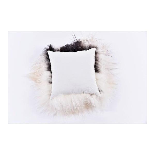 Černobílý kožešinový polštář s dlouhým chlupem Spotted, 35x35cm