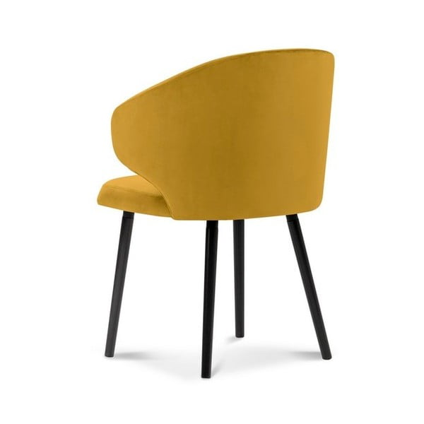 Žlutá jídelní židle se sametovým potahem Windsor & Co Sofas Nemesis