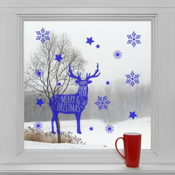 Elektrostatické vánoční samolepky Modrý sob