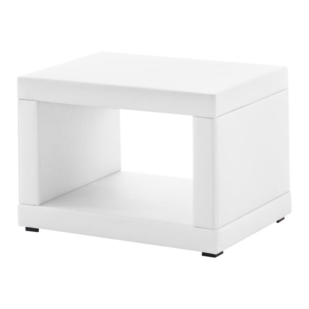 Bílý koženkový noční stolek Novative