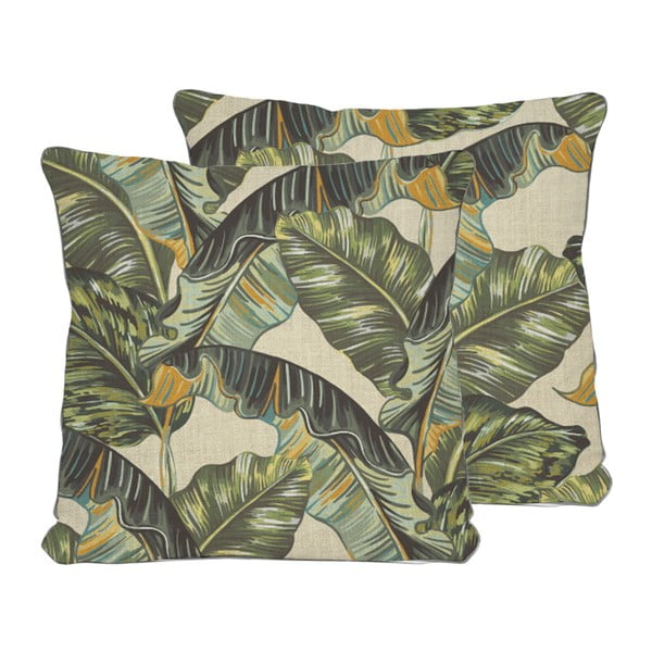 Obojstranná obliečka na vankúš s ľanovou prímesou Madre Selva Banana Palm, 45×45 cm