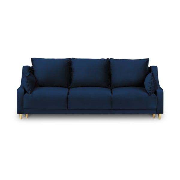 Modrá trojmiestna rozkladacia pohovka s úložným priestorom Mazzini Sofas Pansy