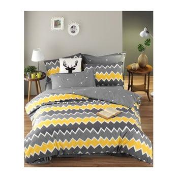 Lenjerie de pat cu cearșaf din bumbac ranforce, pentru pat dublu Mijolnir Zigros Yellow, 160 x 220 cm