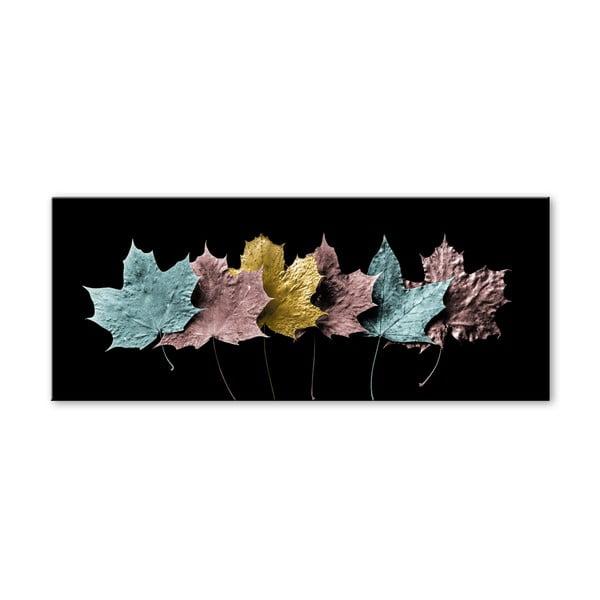 Obraz Styler Glas Pastell Leafes, 50x125 cm