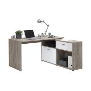Pracovní stůl v dekoru dubového dřeva s bílými detaily 13Casa Dex