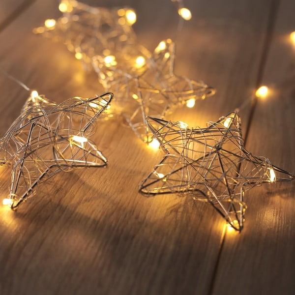 Girlanda świetlna LED z 4 wiszącymi gwiazdkami DecoKing Stars, 38 lampek, dł. 0,75 m