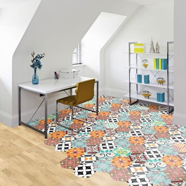Sada 10 samolepek na podlahu Ambiance Floor Stickers Hexagons Pénélope, 40 x 90 cm