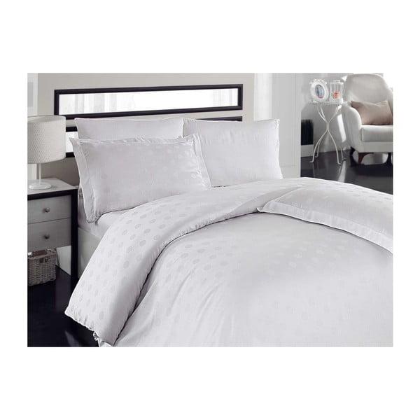 Lenjerie de pat cu cearșaf Puan White, 200 x 220 cm, alb