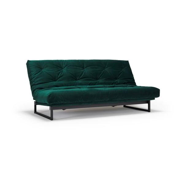 Tmavě zelená rozkládací pohovka Innovation Fraction Elegant Velvet Forest Green, 97x200cm