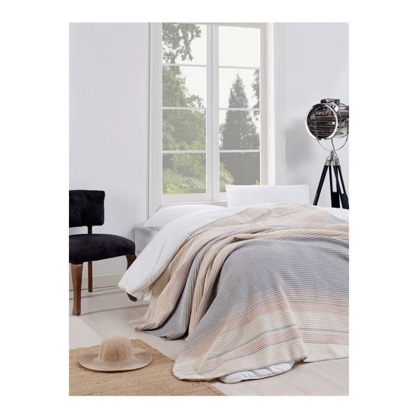 Modro-béžová deka Puro Lessno, 180 x 220 cm