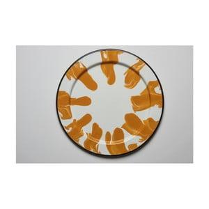 Oranžovobílý smaltovaný talíř Kapka Little Color, Ø24,5cm