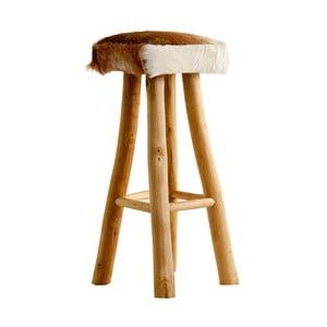 Barová stolička z recyklovaného borovicového dřeva s koženým potahem VICAL HOME Mambe