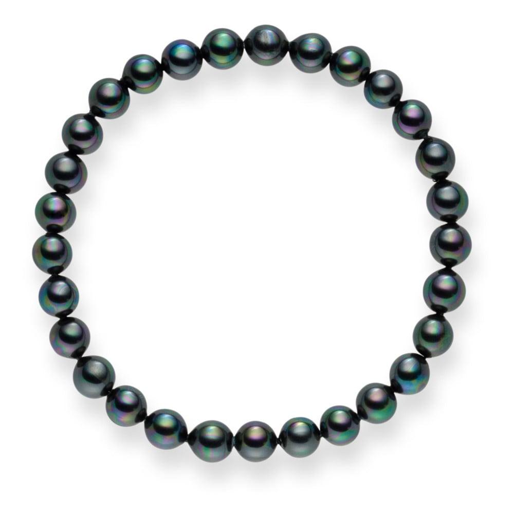 Antracitový perlový náramek Pearls Of London Mystic Grey, 21 cm