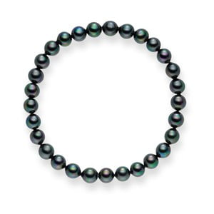 Antracitový perlový náramek Pearls of London Mystic Grey, 17 cm