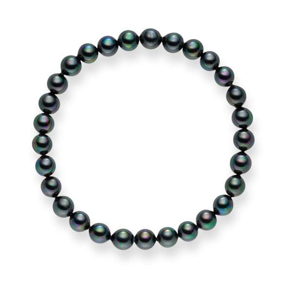 Antracitový perlový náramek Pearls Of London Mystic Grey, 21cm