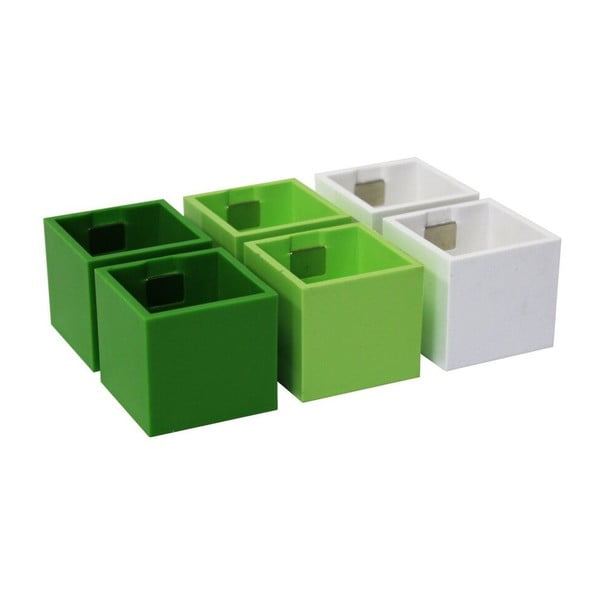 Sada 6 ks malých magnetických květináčů CUBE, zelená