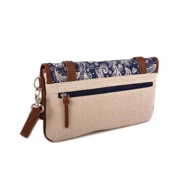 Béžovo-modrá kabelka SKPA-T, 30 x 16 cm