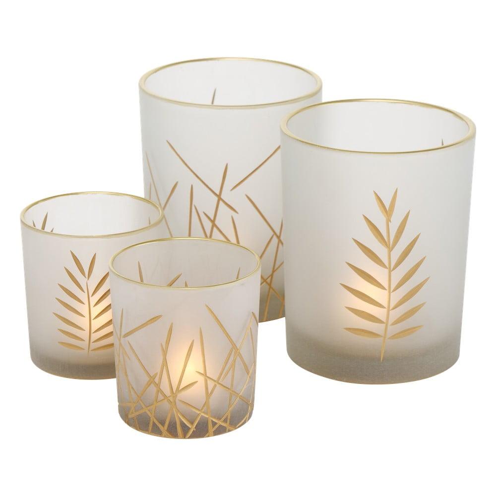 Sada 4 bílých skleněných svícnů Boltze Narino