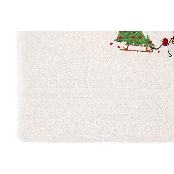 Sada 2 bílých vánočních osušek Snowy, 70x140 cm