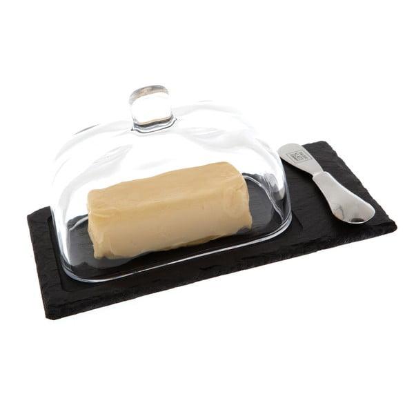 Břidlicová máslenka s nožem Cloche, 22x13 cm