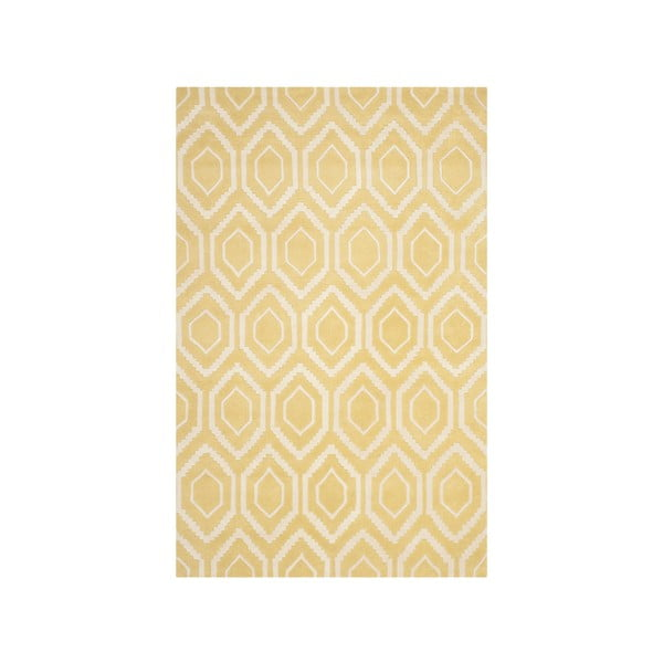 Žltý vlnený koberec Safavieh Essex Navy, 243x152cm