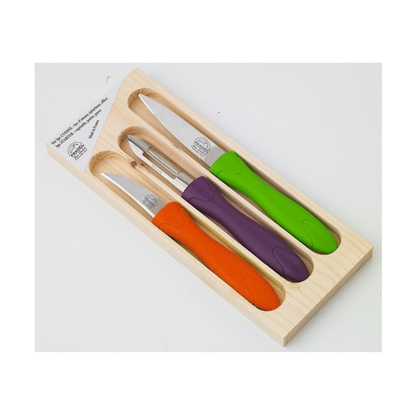Set 3 piese, cuțite și curățător în cutie din lemn Jean Dubost Rainbow