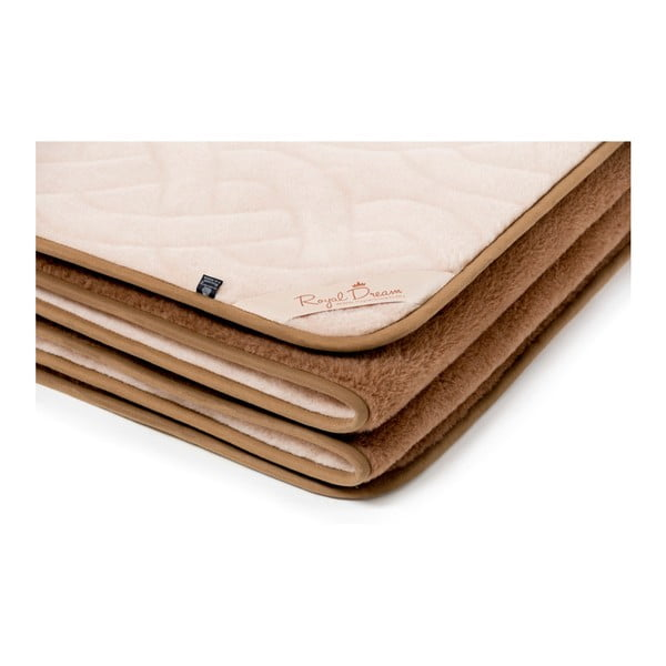 Lines and Chocolate barna-bézs tevegyapjú takaró, 220 x 200 cm - Royal Dream