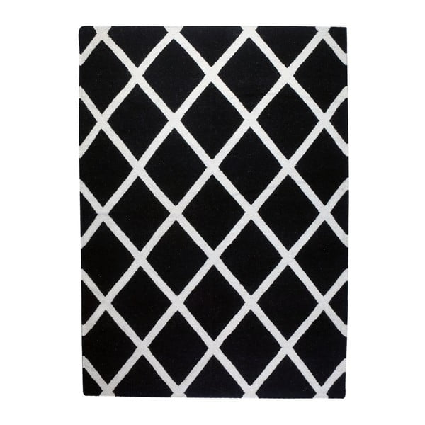 Vlněný koberec Geometry Linie Black & White, 160x230 cm