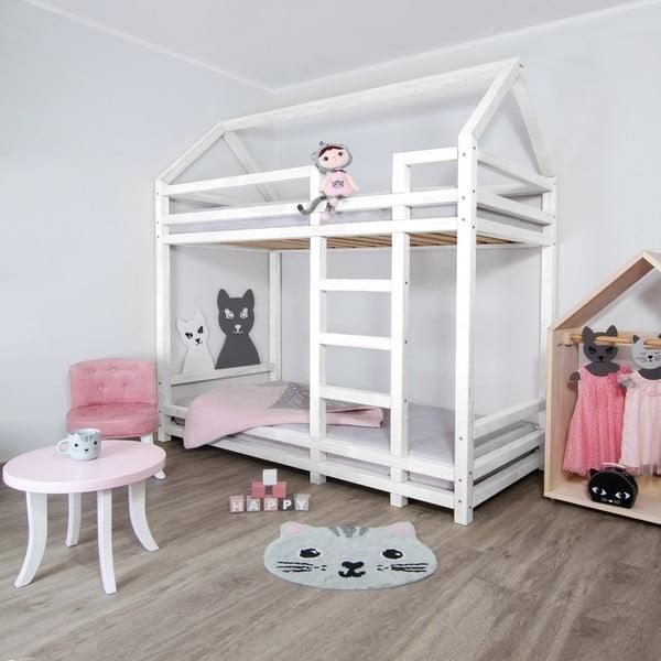 Białe drewniane piętrowe łóżko dziecięce Benlemi Twiny, 90x200 cm