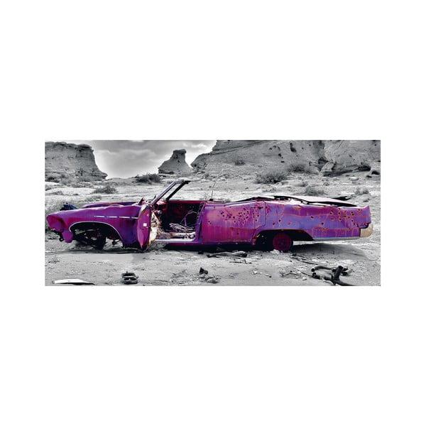 Dekorativní nástěnný panel Auto v poušti, 115x50 cm