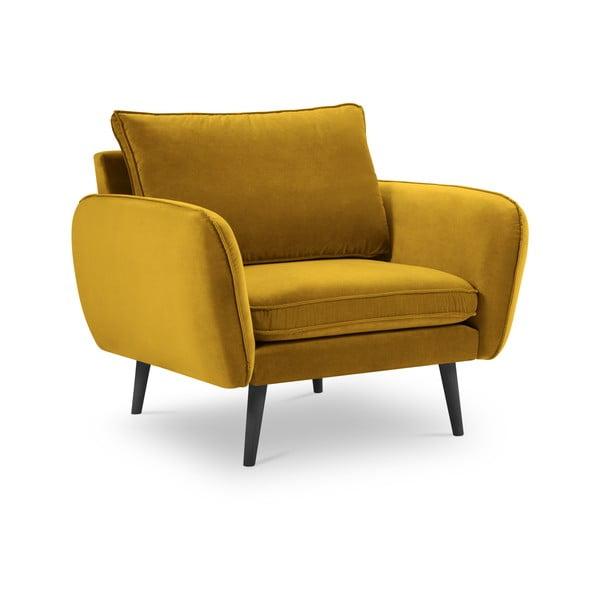 Lento sárga bársony fotel - Kooko Home